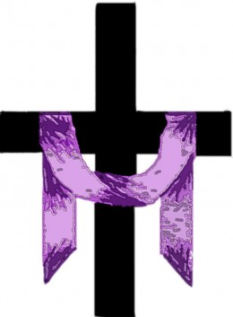 Cross draped with purple during Lent.
