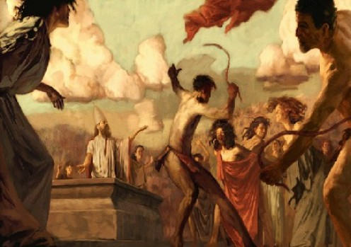 Lupercalia Where men stripped naked, grabbed goat- or dog-skin whips, and spanks young maidens in hopes of increasing their fertility.    This is the origin of Valentine's Day.