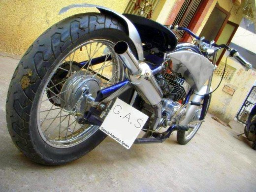 Kartik's custom modified chopper made out of junk Yamaha RX 100.