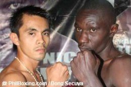 "Zeta Celestino Oliveros Gorres or Z  ""The Dream"" Gorres versus Nick  ""Kenyankole"" or  ""Ak 47""  or  ""Black Sugar""  Otieno (right) of Kenya during their weigh-in May 30, 2008"