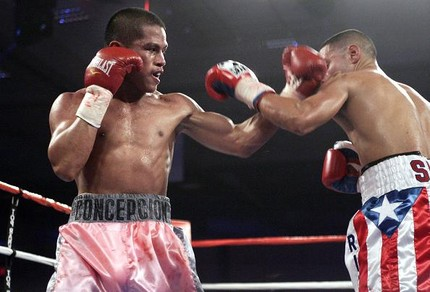 Bernabe Concepcion- the shorter but powerful boxer decisioned Mario Santiago in 10 action-packed rounds