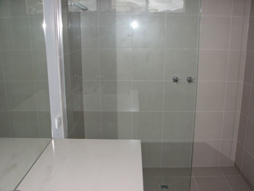 A frameless shower screen.