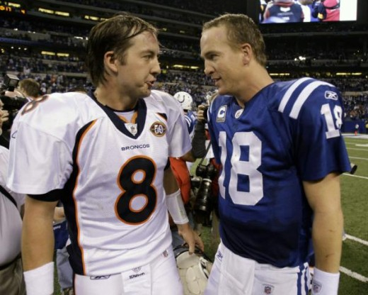 Indianapolis Colts quarterback Peyton Manning, right, talks with Denver Broncos quarterback Kyle Orton following thier NFL football game in Indianapolis, Sunday, Dec. 13, 2009. The Colts defeated the Broncos 28-16. (AP Photo/Michael Conroy)