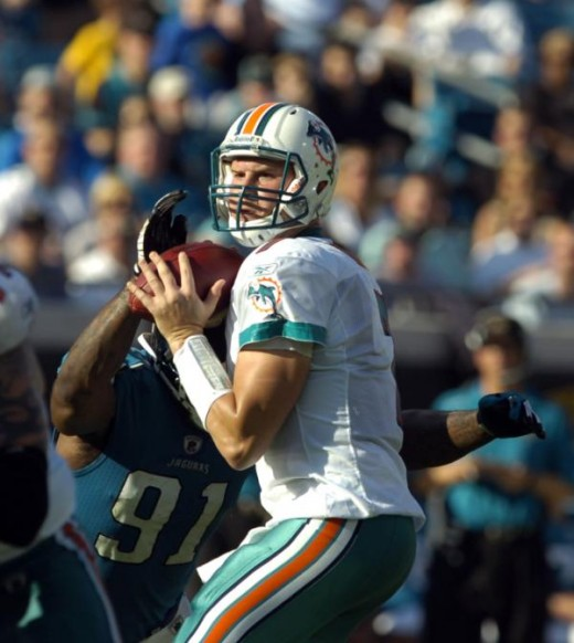 Miami Dolphins quarterback Chad Henne looks to pass in game against the Jacksonville Jaguars during an NFL football game, Sunday, Dec. 13, 2009 in Jacksonville, Fla. (AP Photo/Stephen Morton)