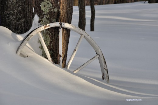 Fresh snow, bright light and an old farm wagon wheel.