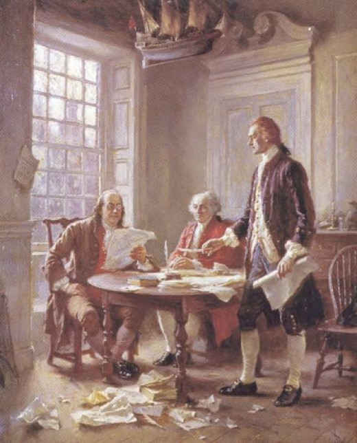 Benjamin Franklin and John Adams critique Thomas Jefferson's rough draft of the Declaration of Independence