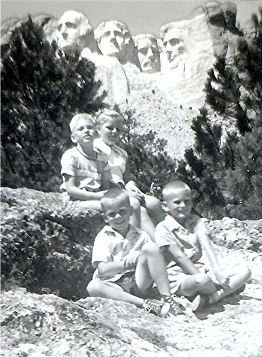 "Mount Rushmore in background - ""Top - Tommy & Peggy, Bottom - Johnny & Billy"""