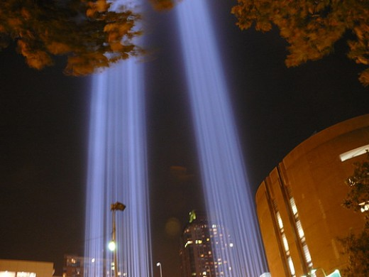 """Tribute in Light to honor victims of 9/11 terrorist attacks - New York City"" by Monika Szyma from Flickr. Original URL: http://www.flickr.com/photos/monikaszyma/1438557376"