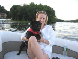 Our Pug Puppy Bogey & My Wife Michelle