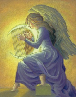 Harps were played, celebration and adoration of the Lamb