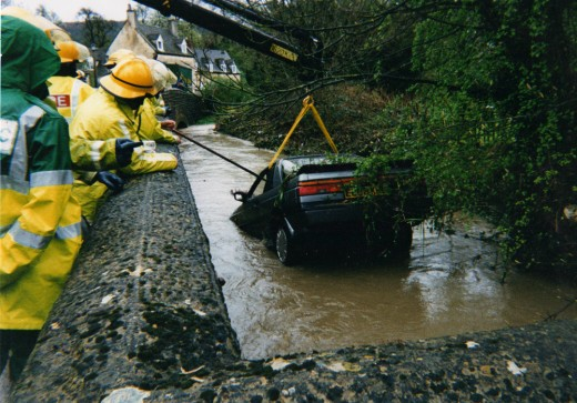 My Nissan got a little wet, but at least it got it's 15 minutes of fame - circa 1996