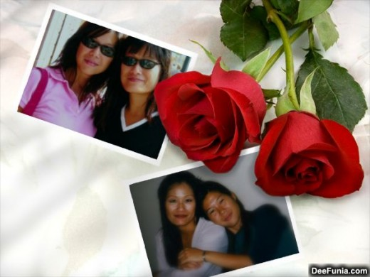 Template from Deefunia-In the photo is my sister, Fanny and me.