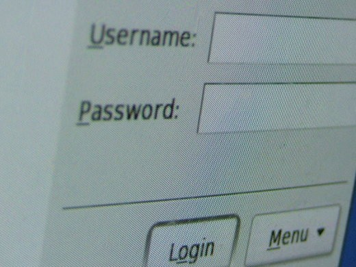 Username Password login screen