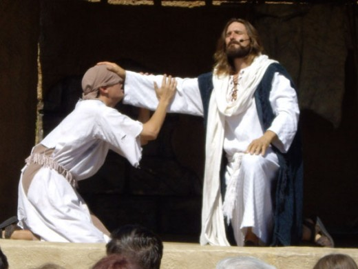 Jesus praying with the blind man at the Holy Land Experience in Orlando, Florida
