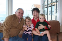 Larry and I with his grandkids Saylor and Hudson