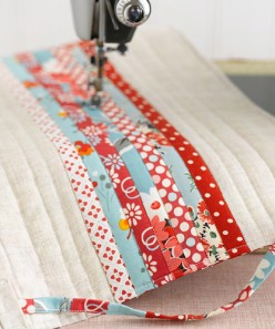 patchwork quilt with machine quilting