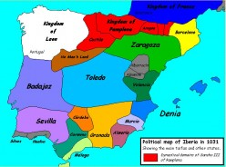 'Political map of Iberia in 1031 (showing major taifas and other states).' A* * * uthor:Sugaar The copyright holder of this work allows anyone to use it for any purpose including unrestricted redistribution, commercial use, and modification. Further