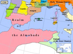 'Map of the Almohad dynasty/empire in North Africa/Iberia, AD 1200'. * * *  Author: Gabagool / Jarle Grhn This file is licensed under the Creative Commons Attribution 3.0 Unported license. Further details: http://en.wikipedia.org/wiki/File:Almohad120
