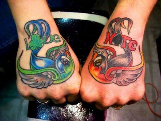 Two fisted sparrow tattoos and they deff love Kate, but are they a guys