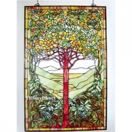 Tiffany Style Stained Glass Panel Tree of Life