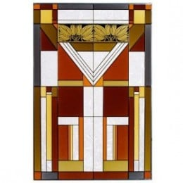 Mission Style Craftsman Vertical Stained Glass Panel