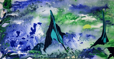 FLUID PEAKS -- original fluidism painting by Robert Kernodle