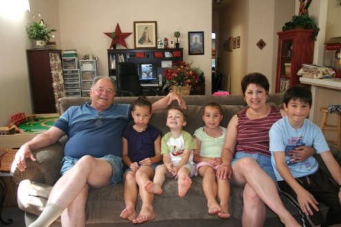 Me and Larry and grandkids Katie, Madison, Hayden and Kenny