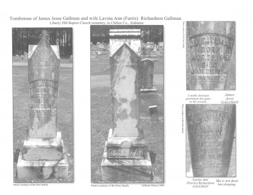 Book page 45 JJ Gallman  James Jesse Gallman Tombstone and wife Lavina Ann (Ferris) Richardson Gallman Tombstone. Liberty Hill Baptist Church cemetery, in Chilton County Alabama. Photo by Jenney Doss