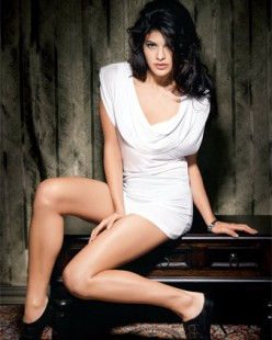 Jacqueline Fernandez Sexy White Frock