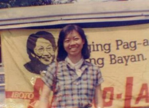A smiling supporter of the first female President, Corazon C. Aquino