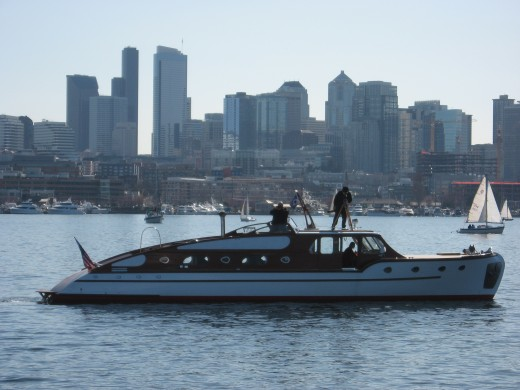 Seattle skyline with the classic yacht Thunderbird