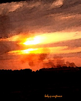 sunset photo converted into a painting by using watercolor filter