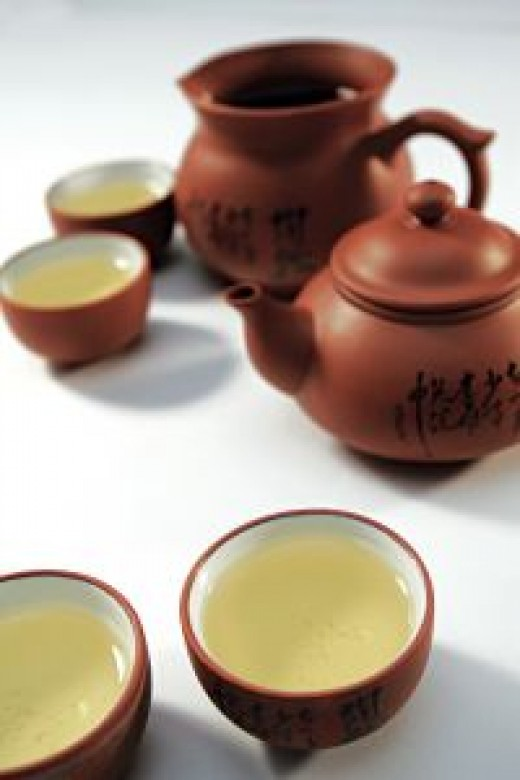 Chinese green tea served in a traditional Yixing clay vessel