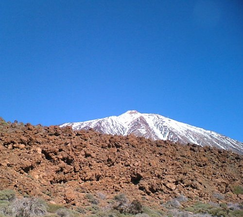 Mt Teide's peak covered in snow