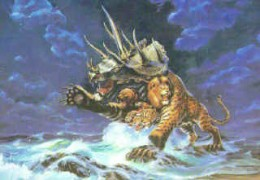 The beast of Revelation, having seven heads and ten horns and rising from the sea.