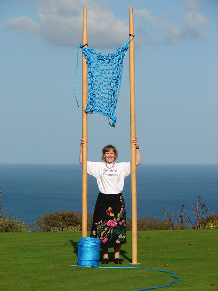 9/23/2006 - Julia Hopson of Knit Wits, Penzance, Cornwall. Largest knitting needles in the world.