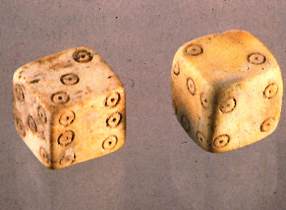 Dice from ancient Pompeii (opposing faces add up to 7 - the same as modern dice).