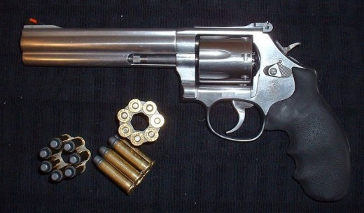 The Smith & Wesson (S & W) Model 686, a seven shot double action revolver chambered for the .357 Magnum or .38 Special cartridges.