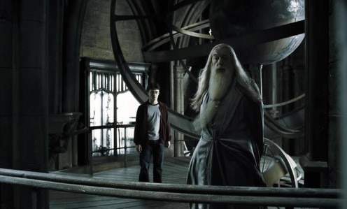 "Harry Potter and Professor Dumbledore privately meet. Scene from the movie ""Harry Potter and the Half-Blood Prince."""