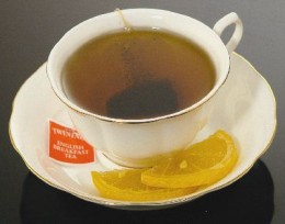 Tea and lemon for breakfast -delightful.  Any time of the day -healthy and delicious!