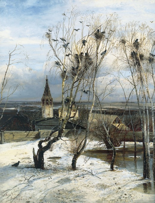 This well known painting by Alexei Kondratvevich Savracov is an excellent example of a rookery. Note the snow on the ground and the leafless trees. Picture courtesy of Wikipedia commons.