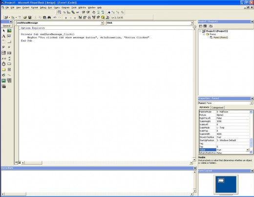 The code has been entered in the VB6 IDE