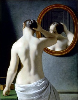 Woman Standing in Front of a Mirror / Christoffer Wilhelm Eckersberg 1841