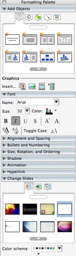 The Formatting Palette