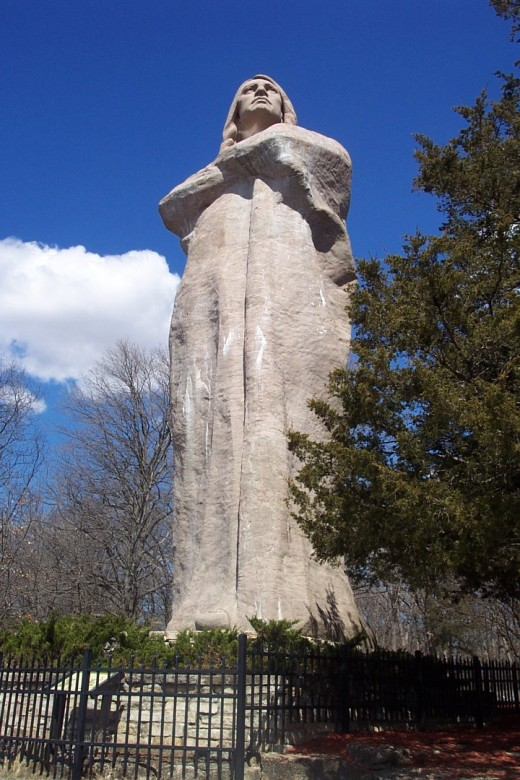 The Black Hawk sculpture by Lorado Taft overlooks the Rock River 45 miles northeast of Morrison