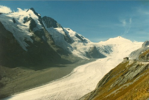 Grossglockner (left) showing the Pasterze Glacier below.