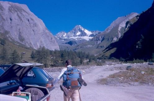 That's me getting ready to go from the Lucknerhaus.  Grossglockner in the center distance.