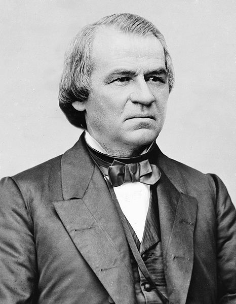 Library of Congress Photo of President Andrew Johnson taken by Matthew Brady.  (Public Domain Photo courtesy of WikiPedia.org  http://en.wikipedia.org/wiki/File:Andrew_Johnson_photo_portrait_head_and_shoulders,_c1870-1880-Edit1.jpg )