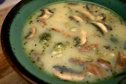 buttermilk soup base with broccoli, mushrooms, and wild rice
