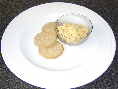 Hummus served simply with Scottish oatcakes